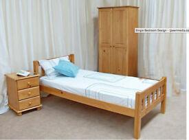 Single bed +mattress, wardrobe and side drawer set -Pine