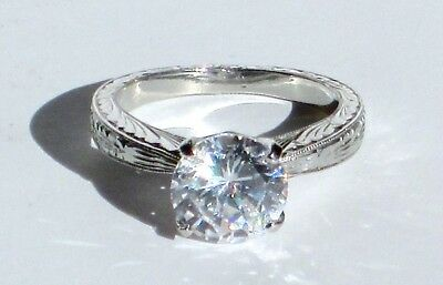 Tacori Platinum Hand Engraved Semi Mount Ring Setting Size 6.25 Retail - Hand Engraved Semi Mount