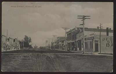 Real Photo Postcard Howard Sd  Main St Peoples Bank   Business Storefronts 1907