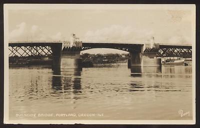 REAL PHOTO Postcard PORTLAND,Oregon/OR  BURNSIDE DRAWBRIDGE view 1930's?