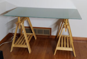 Modern Writing Desk with Glass Top