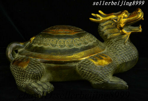 "16"" Old China Bronze Fengshui Wealth Lucky Palace Dragon Tortoise Turtle Statue"