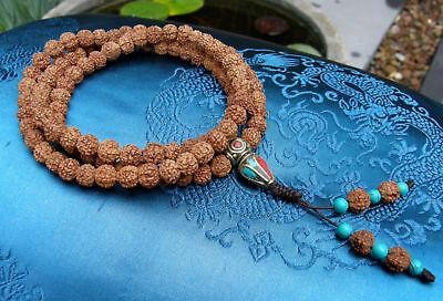 Especially Beautiful Mala Prayer Beads from Small Rudraksha Pearls 88cm Tibet