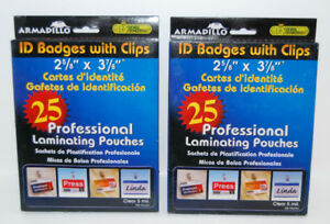 50 Clear ID Badges with CLIPS - 5 Mil Laminated -Volume Discount