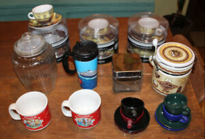 COFFEE espresso cappuccino mugs cups canisters new used