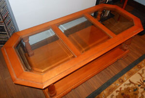 Vintage Roxton Maple glass coffee table