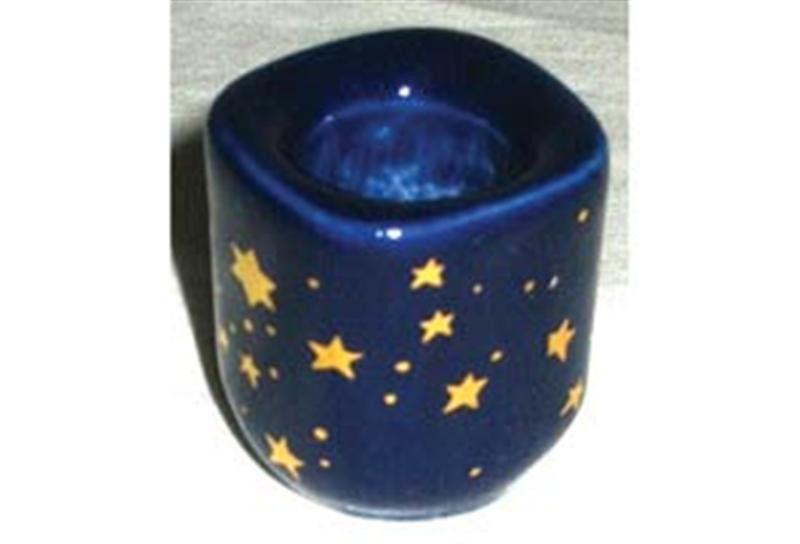"Cobalt Blue Starry Ceramic Candle Holder for 1/2"" Chime Candles (Altar, Spell)"