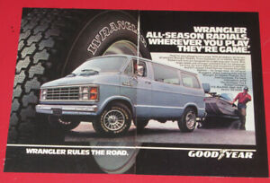 SWEET 1985 DODGE RAM VAN FOR GOODYEAR WRANGLER TIRES RETRO AD