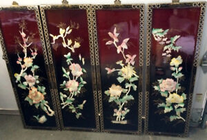 4 Chinese Mother of Pearl Hanging Wall Screens