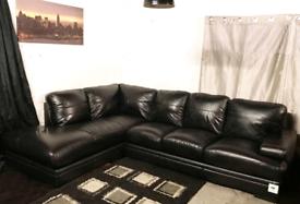 -- Dfs ex display black real leather corner sofa