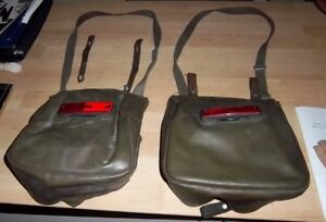 2 Retro Leather Saddlepags with Relectors (Moped or Bike)