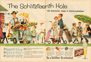 1957 extra large (20  x 14) color magazine ad for Schlitz