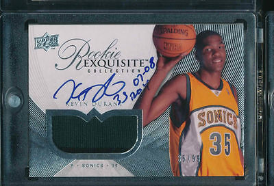 KEVIN DURANT 2007-08 UD EXQUISITE AUTO RC *THUNDERS* PATCH JERSEY NUMBER # 35/99