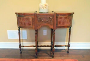 KNITTING TABLE - FERN STAND EXTREMELY RARE Wood /Wicker ANTIQUE