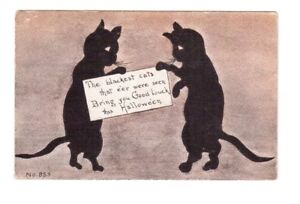Carte postale Halloween de 1912 U.S.A. Black cats