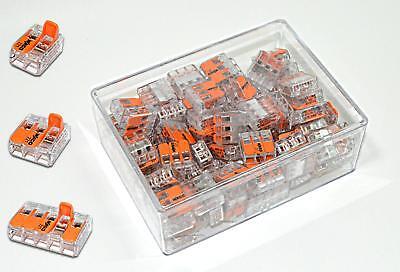 100 Stück Wago Serie 221 Klemmen Klemme Verbindungsklemme Sortiment Box Set NEU