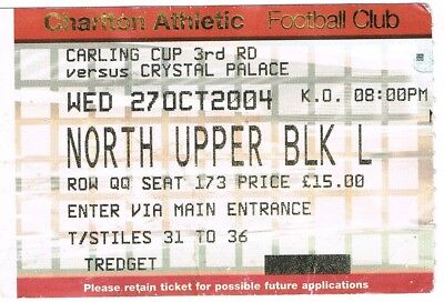 Ticket - Charlton Athletic v Crystal Palace 27.10.2004 League Cup
