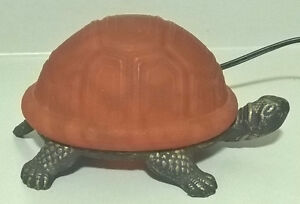Meyda Tiffany Turtle Art Glass Yellow Accent Table Lamp