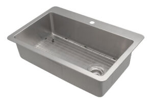 "NEW 32"" Valencia Single Bowl Kitchen Sink (DUAL MOUNT)"