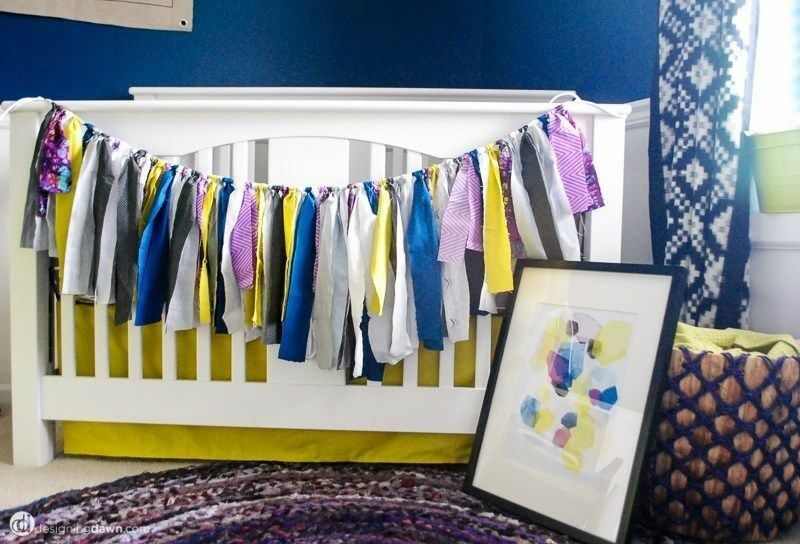 Using fabric scraps to create a custom DIY banner is a simple way to tie together a unique colour scheme. (Image: Design