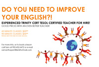 Certified and Experienced English Tutor for Hire!