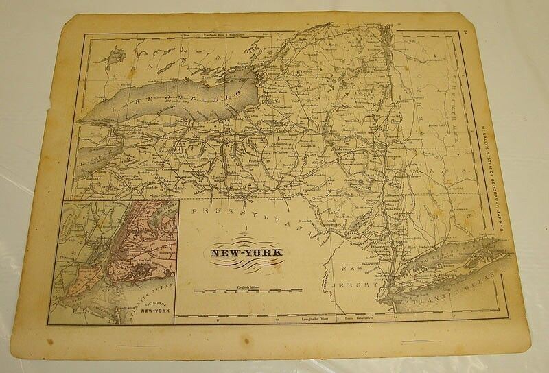 1869 McNally Antique Color Map of NEW YORK