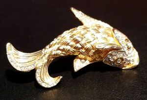 Christian Dior Vintage Gold Plated Fish Brooch w/ Crystals