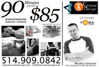 Massothérapie Prof. 90 minutes pour seulement $85 (Candiac)