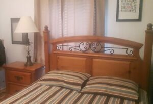 ALL-WOOD QUEEN SIZE BED & NIGHT STAND WITH IRON-FORGED ORNAMENTS