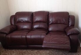 2 Brown leather recliner sofas