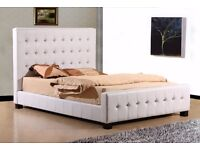 king size white leather button bk bed as new