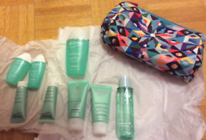 Set of 8 Biotherm facial cleansing products and a makeup bag