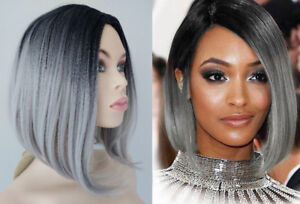 NEW WITH TAGS: Deluxe Black-Grey Ombre Wig