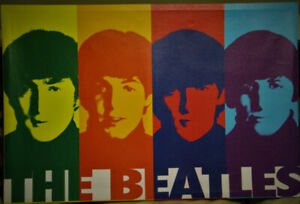 BEATLES FAB 3 RAINBOW FACES ON STRETCHED CANVAS 36 X 24