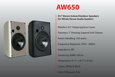 Proficient Aw650 Indoor Outdoor Speakers New Pair  Aw650  Black  Worldwide Ship