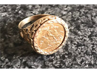 HALF SOVEREIGN RING ** LARGE SIZE