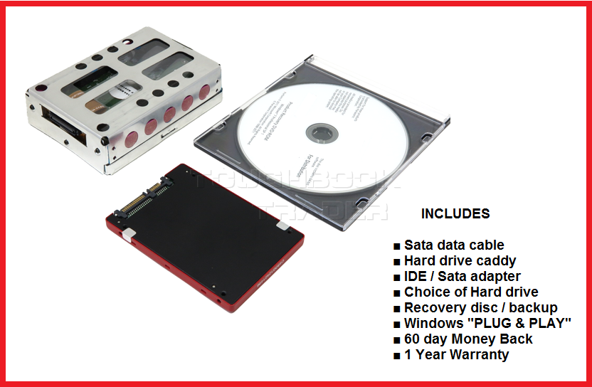 Hard Drive + Caddy + Disc: Panasonic Toughbook CF-29 ~ Win XP or 7 ~ Sata or SSD