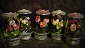 UNIQUE Gift, silk flowers encased in glass