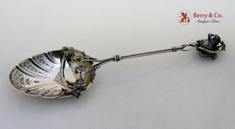 Figural Squirrel Oak Leaf Serving Spoon Sterling Silver 1870