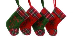 Set Of 4 Scottish Tartan Stockings Hanging Christmas Tree