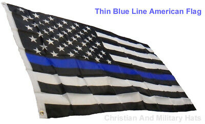 Thin Blue Line American Flag 3x5 36 inches by 60 inches Support Those That Serve
