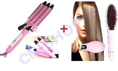 Cepillo Eléctrica Suavizado Ionica Digital Profesional + Placa De para las Ondas