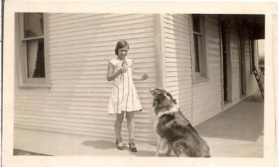 Pretty Tween Girl & Her Attentive Waiting Patiently Lassie Collie Dog 1931 Photo](Pretty Tween Girl)