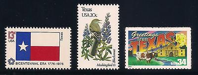 TEXAS - STATE FLAG, BIRD, FLOWER - SET OF 3 U.S. STAMPS - MINT CONDITION