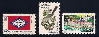ARKANSAS - STATE FLAG, BIRD, FLOWER - SET OF 3 U.S. STAMPS - MINT CONDITION