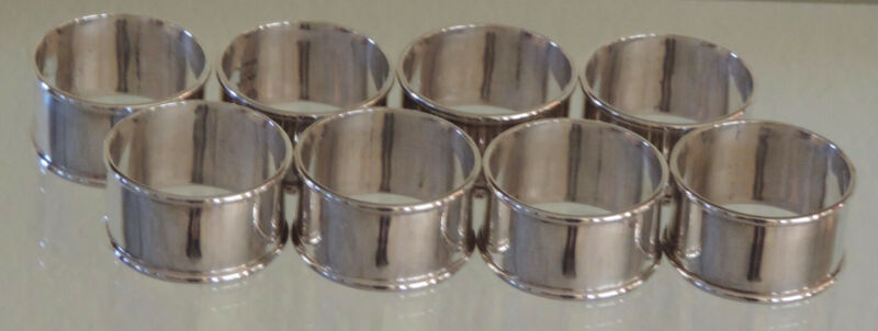 8 Sterling Silver Napkin Rings from Taxco Mexico Vintage