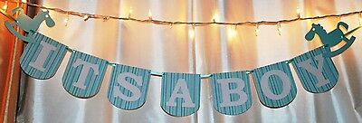 Its A Boy Sign (its a boy baby shower, blue, teal aqua rocking horse animal banner)