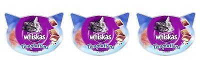 3x Whiskas Temptations Cat Treats with Salmon (3 x 60g Packs)