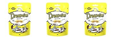 3x Dreamies Cat Treats - Delicious Cheese (3 x 60g Packs) With Vitamins Minerals