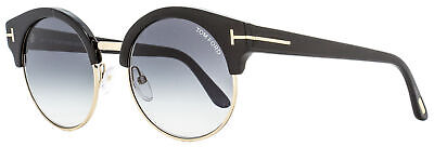 Tom Ford Round Sunglasses TF608 Alissa-02 01B Black/Gold 54mm FT0608